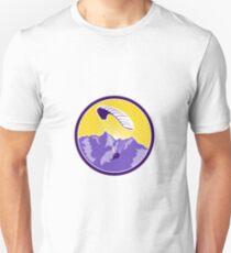 Paragliding Alps Mountains Circle Retro T-Shirt