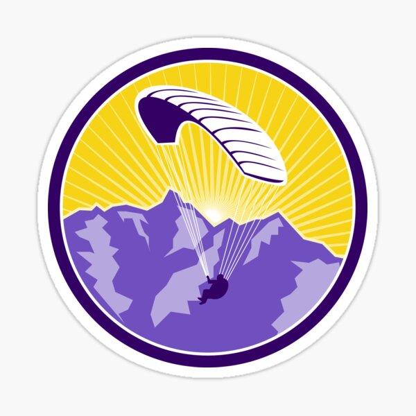 Parapente Alpes Montagnes Cercle Retro Sticker
