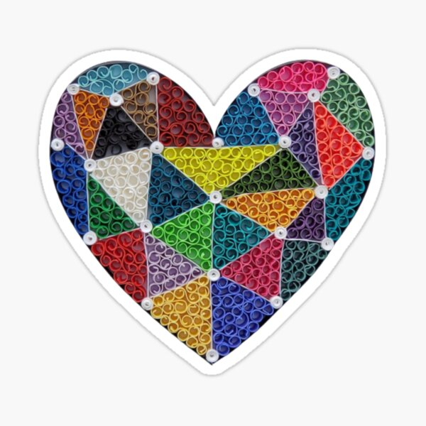 Colorful Paper Quilling Heart Sticker