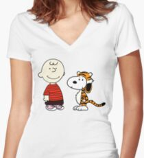 Peanuts Meets Women's Fitted V-Neck T-Shirt