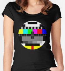 90's TV Test pattern Women's Fitted Scoop T-Shirt