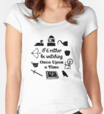 """""""I'd Rather Be Watching Once Upon a Time"""" Icon Design in Black Women's Fitted Scoop T-Shirt"""