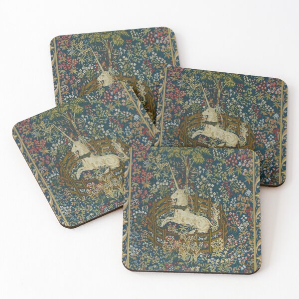 The Unicorn in Captivity Medieval Floral Tapestry Coasters (Set of 4)