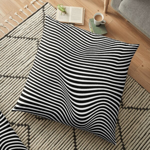 wavy stripes with black and white patterns Floor Pillow