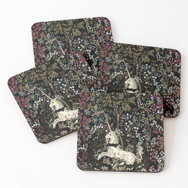 The Unicorn in Captivity Black Floral Tapestry Coasters (Set of 4)