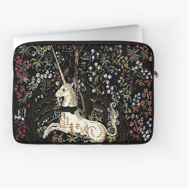 The Unicorn in Captivity Black Floral Tapestry Laptop Sleeve