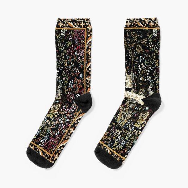 The Unicorn in Captivity Black Floral Tapestry Socks