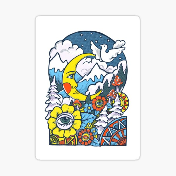 Moon, mountains, mushrooms - retro 60s forests and flowers Sticker