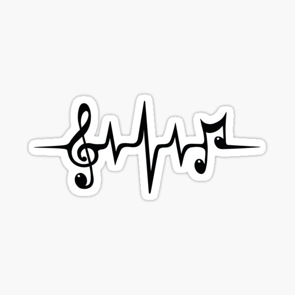 Music Pulse Heartbeat Notes Clef Frequency Wave Sound Festival  Sticker