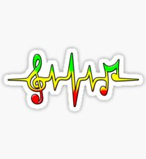 Music Pulse, Reggae, Sound Wave, Rastafarian, Jah, Jamaica, Rasta Sticker