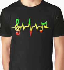 Music Pulse, Reggae, Sound Wave, Rastafari, Jah, Jamaica, Rasta Graphic T-Shirt