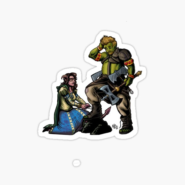 Helvetica and Blumken Character Art by Mike Lake Graphics Sticker