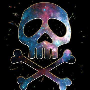 Espacio pirata, cráneo, bandera pirata, capitán, hueso, animado, cómico de boom-art