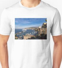 Postcard from Sorrento, Italy - the Harbor, the Boats, and the Famous Clifftop Hotels Unisex T-Shirt