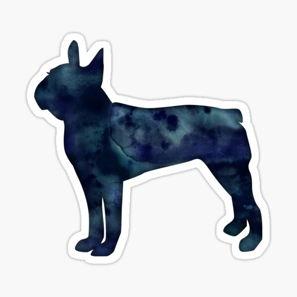 Boston Terrier Black Watercolor Silhouette Sticker