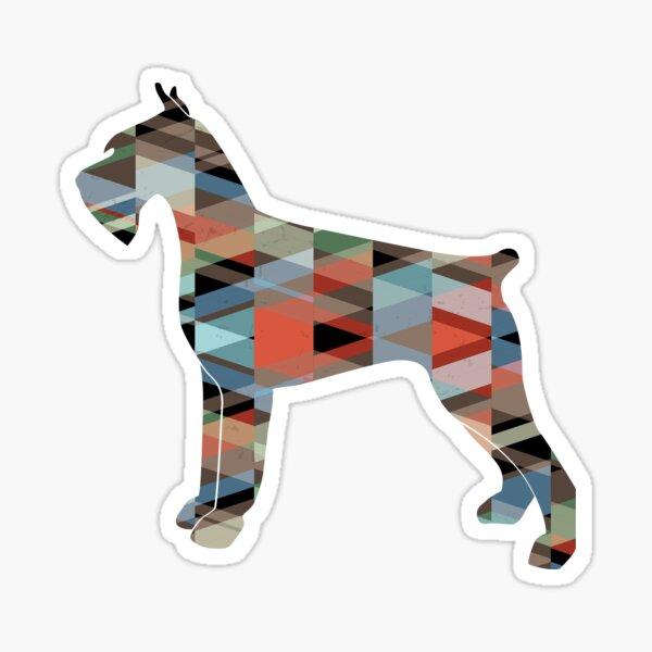 Giant Schnauzer Dog Colorful Geometric Pattern Silhouette - Plaid Sticker