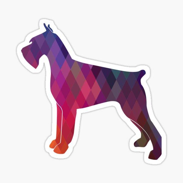 Giant Schnauzer Dog Geometric Pattern Silhouette Pink Sticker