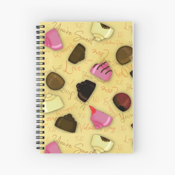 Sweet Valentine - Valentine's Day Candy Pattern Spiral Notebook