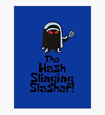 The Hash Slinging Slasher! (Black Text) - Spongebob Photographic Print