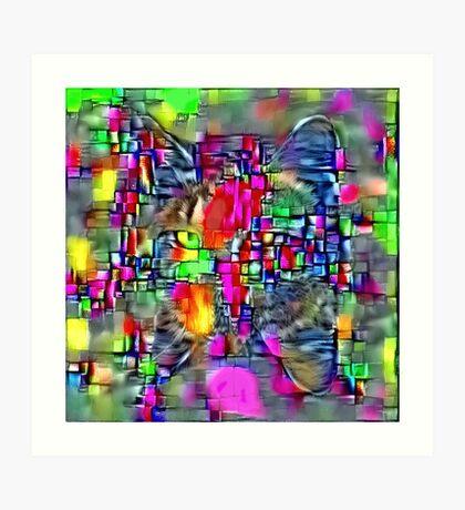 Artificial neural style Cubism mirror cat Art Print