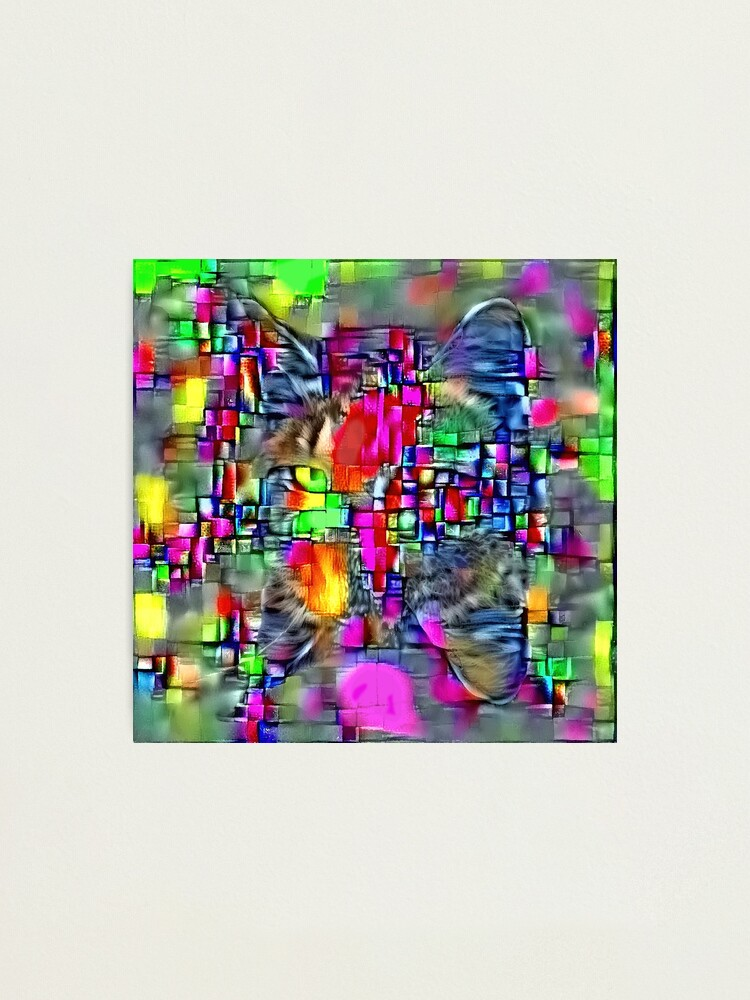 Alternate view of Artificial neural style Cubism mirror cat Photographic Print