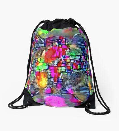 Artificial neural style Cubism mirror cat Drawstring Bag