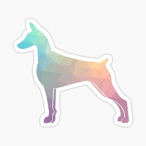 Doberman Pinscher Dog Colorful Geometric Pattern Silhouette - Pastel Sticker