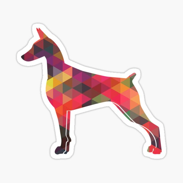 Doberman Pinscher Dog Geometric Pattern Silhouette Multi Sticker