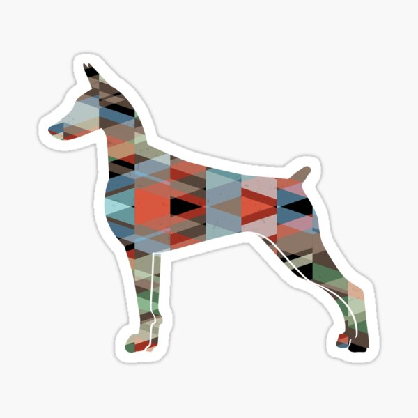 Doberman Pinscher Dog Geometric Pattern Silhouette Plaid Sticker