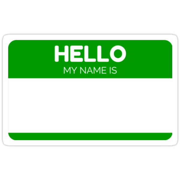 Quothello my name is greenquot stickers by witza redbubble for Hello my name is sticker template