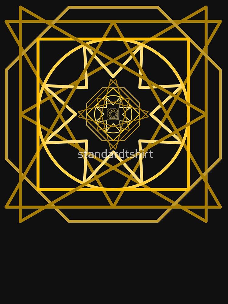 Abstract Golden Geometric Pattern Design Unisex Novelty Tshirt by standardtshirt