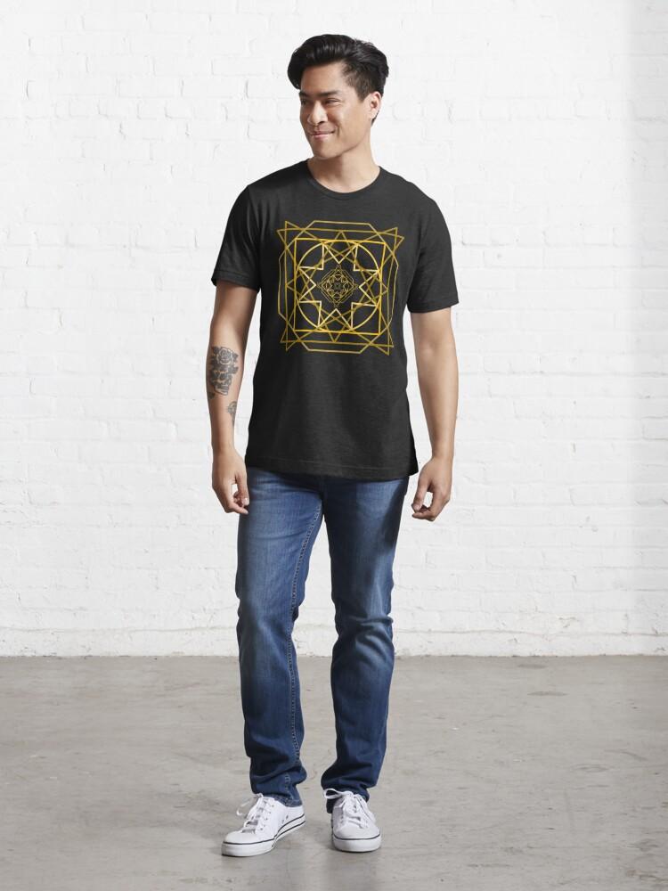 Alternate view of Abstract Golden Geometric Pattern Design Unisex Novelty Tshirt Essential T-Shirt