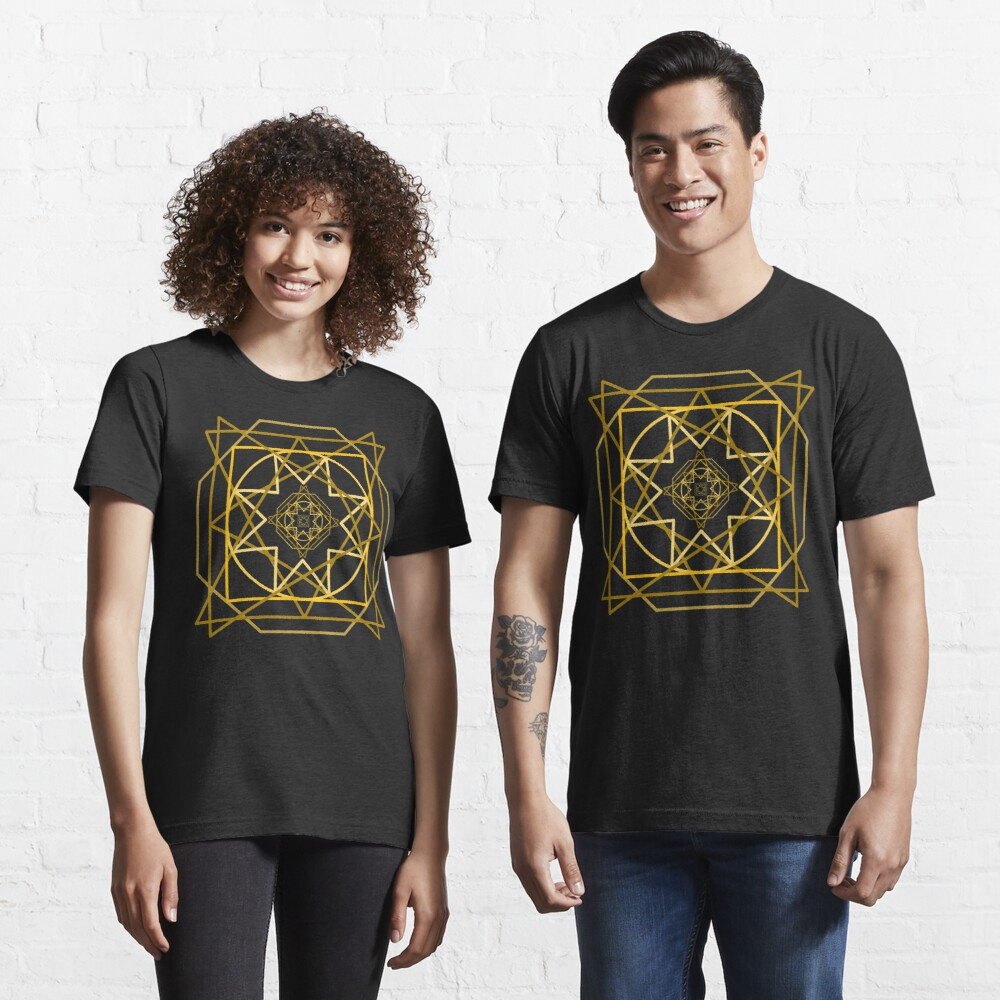 Abstract Golden Geometric Pattern Design Unisex Novelty Tshirt Essential T-Shirt