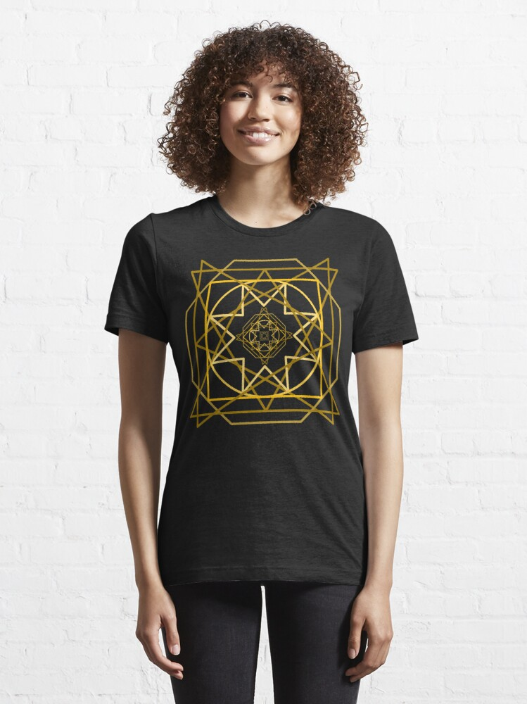 Alternate view of Abstract Golden Geometric Pattern Design Unisex Novelty Tshirt Essential T-Shirt