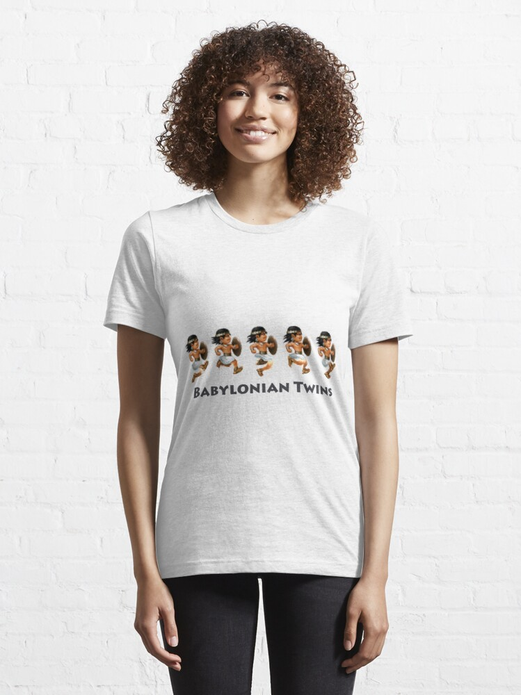 Alternate view of Basir sprinting in Babylonian Twins Essential T-Shirt
