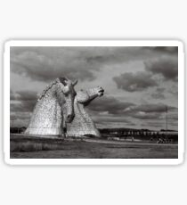 Kelpies against the clouds Sticker