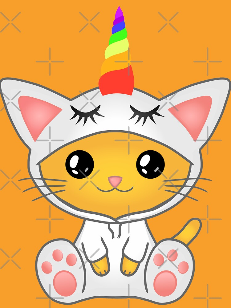 unicorn cat, cat in a unicorn costume  by MickyDeeTees