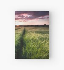 Barley fields at Sunset Hardcover Journal