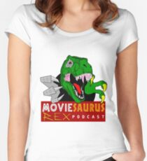 The Moviesaurus Rex Podcast Logo Women's Fitted Scoop T-Shirt