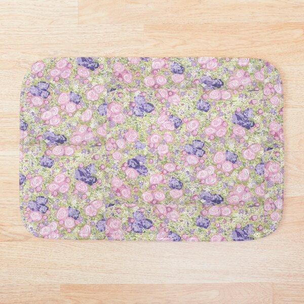 Pink Roses & Purple Flowers Chintz Pattern Bath Mat