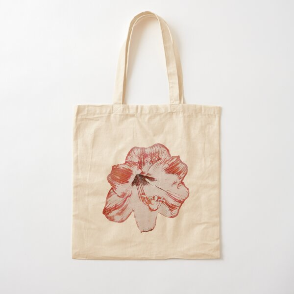 Sketched Amaryllis (Red) - Digital Art Cotton Tote Bag