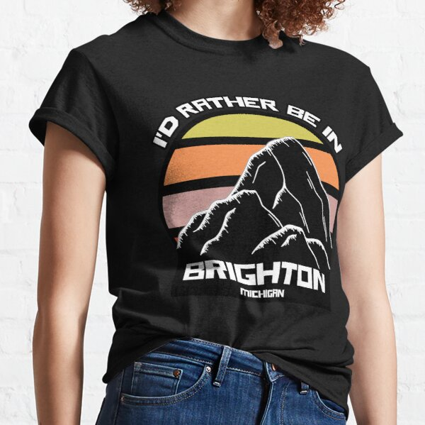 I'd Rather Be In Brighton Michigan Vintage Sunset Mountain Classic T-Shirt
