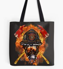 Volunteer firefighter in the fire Tote Bag