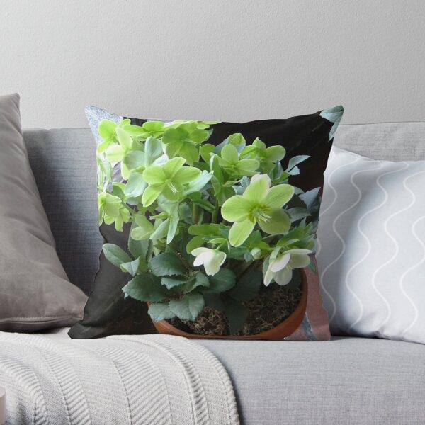 Green Blossoms Throw Pillow