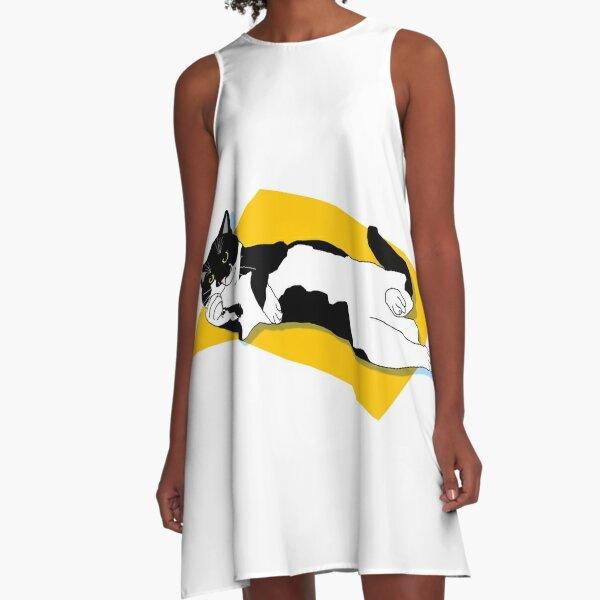 CUTE Tuxedo Cat, want's a belly rub A-Line Dress