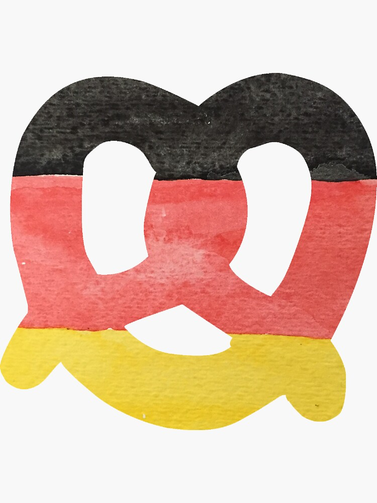 Pretzel in Hand-Painted Water Colors of German Flag by podartist