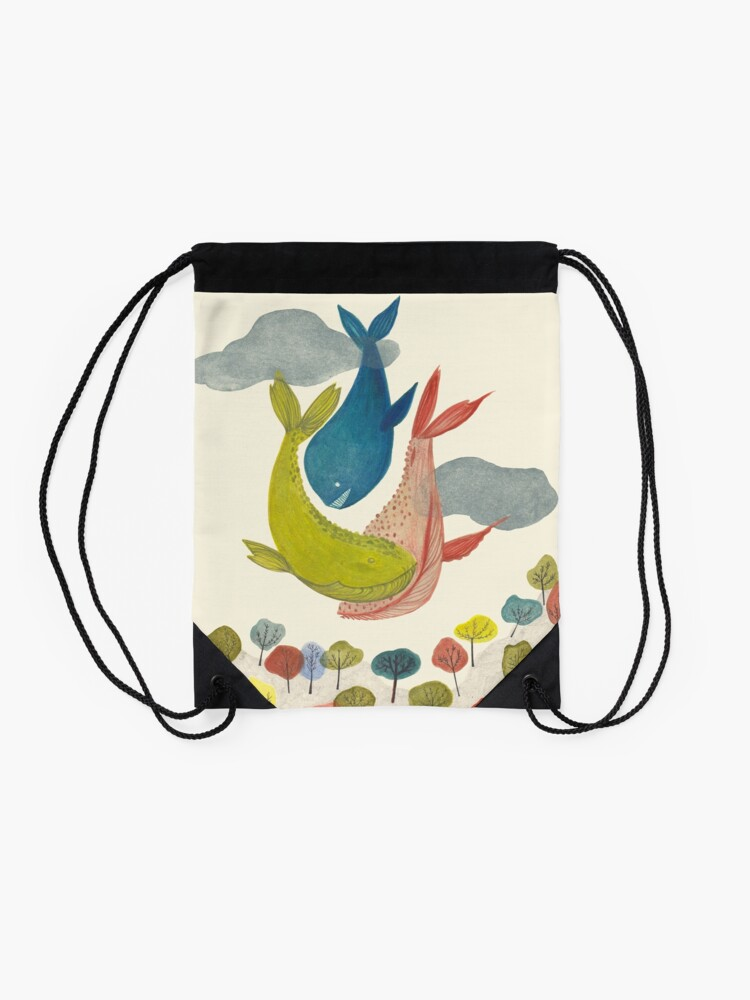 Alternate view of it's raining whales! Drawstring Bag