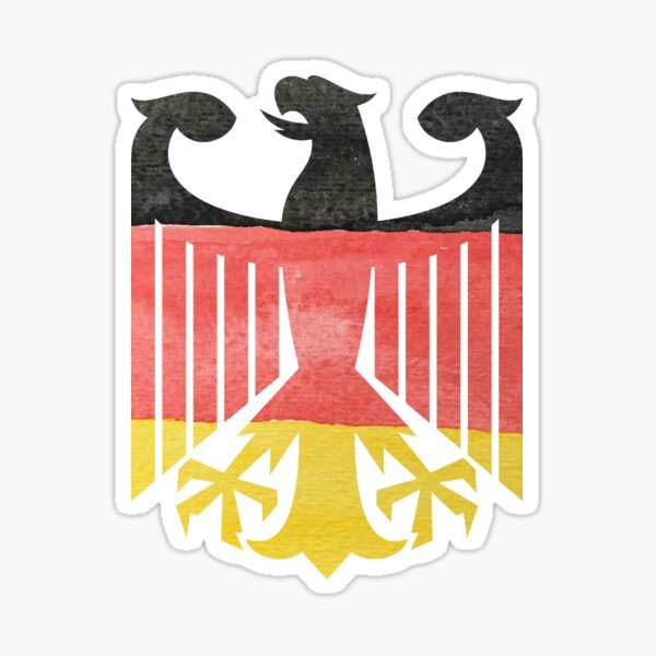 German Eagle Federal Coat of Arms in Germany Flag Water Colors Sticker