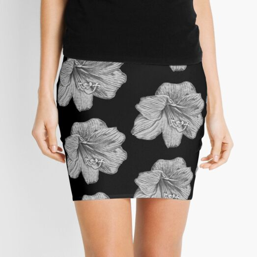Sketched Amaryllis - Digital Art Mini Skirt