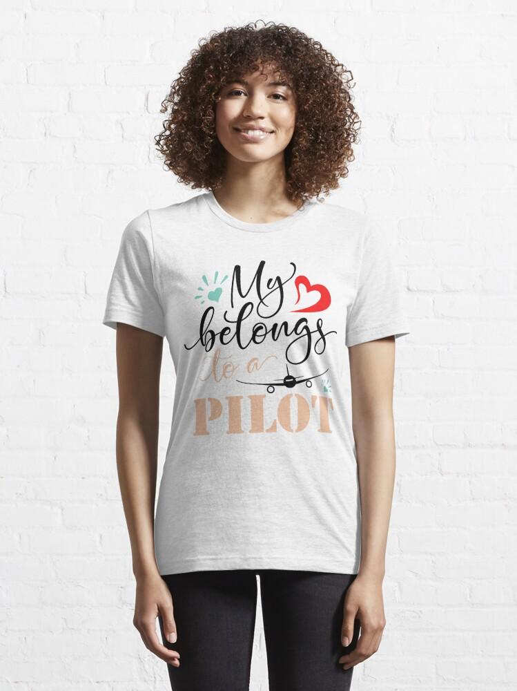 Alternate view of MY HEART BELONGS TO A PILOT Essential T-Shirt